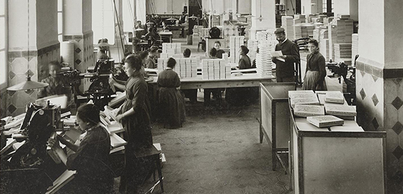 employees working in a Swiss chocolate factory